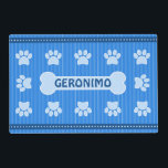 """Cute Blue Stripes Bone and Dog Paws Double Sided Placemat<br><div class=""""desc"""">&#169; Sunny Mars Designs - Blue Stripes Dog Paw and Bone Two Sided Placemat - Cute, stylish personalized custom name polyester-based synthetic double sided paper floor mat featuring a gorgeous blue stripes and polka dots design with dog paws and a dog bone to place your dog&#39;s name on it. Turn...</div>"""