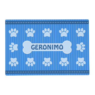 Cute Blue Stripes Bone and Dog Paws Double Sided Placemat