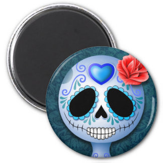 Cute Blue Sugar Skull Magnet