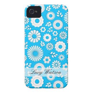 Cute blue summer flowers iPhone 4 Case-Mate case