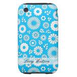 Cute blue summer flowers iPhone 3 tough case