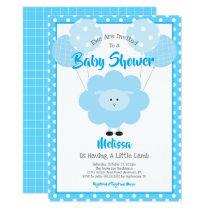 Cute Blue Sweet Lamb, Simple Modern Baby Shower Invitation
