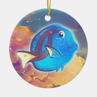 Cute Blue Tang Fish Ceramic Ornament
