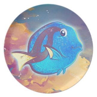 Cute Blue Tang Fish Melamine Plate