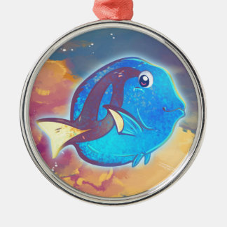 Cute Blue Tang Fish Metal Ornament