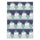Cute Blue Teacup Print Card