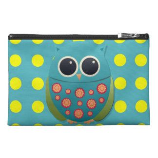 Cute Blue Teal and Green Owl on Yellow Polka Dot Travel Accessory Bag