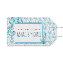 Cute Blue & Teal Octopus Baby Shower Favor Tag