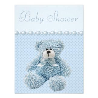 Cute Blue Teddy Bear Baby Boy Shower Custom Invite