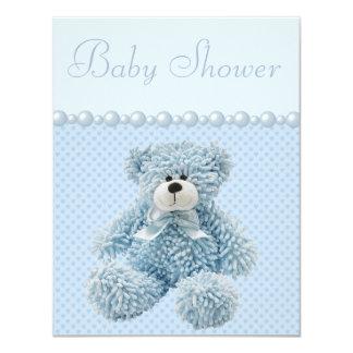 Cute Blue Teddy Bear Baby Boy Shower 4.25x5.5 Paper Invitation Card