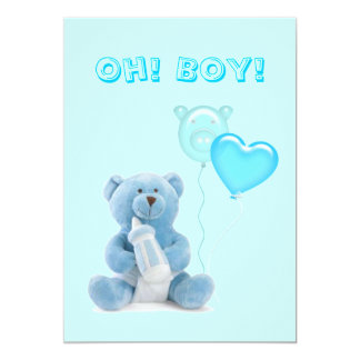 Cute Blue Teddy Bear Baby Shower Invitation
