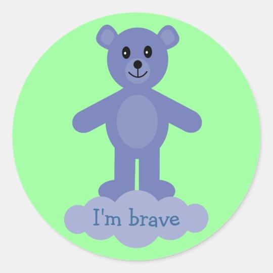 Cute Blue Teddy Bear I'm Brave Reward Stickers