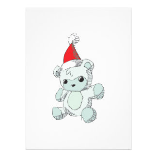 Cute Blue Teddy Bear Red Santa Hat Invitations