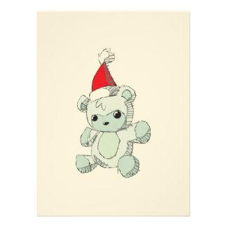 Cute Blue Teddy Bear Red Santa Hat Personalized Invites