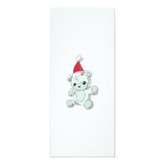 Cute Blue Teddy Bear Red Santa Hat 4x9.25 Paper Invitation Card