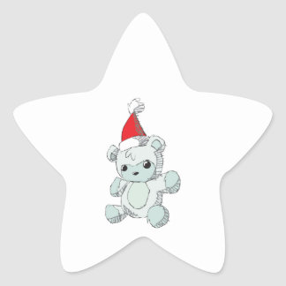 Cute Blue Teddy Bear Red Santa Hat Mug Bag Hat Pin Star Sticker