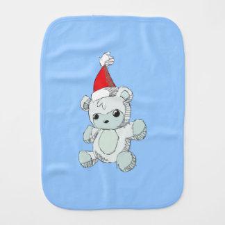 Cute Blue Teddy Bear Red Santa Hat Baby Burp Cloths