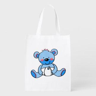 cute blue teddy bear market tote