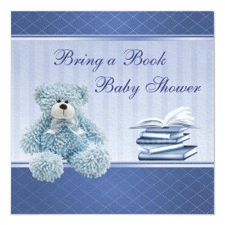 Cute Blue Teddy Elegant Bring a Book Baby Shower Card