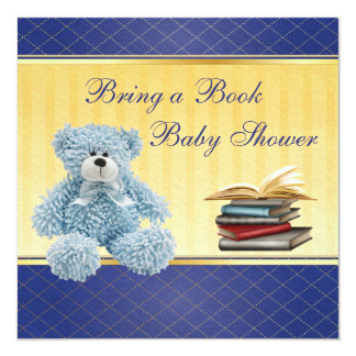 Cute Blue Teddy Elegant Bring a Book Baby Shower Card