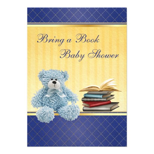 Cute Blue Teddy Elegant Bring a Book Baby Shower Personalized Invite