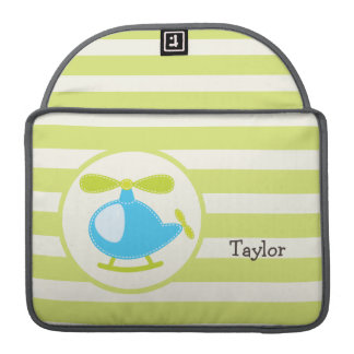 Cute Blue Toy Helicopter on Lime Green Stripes Sleeves For MacBook Pro