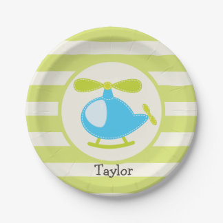 Cute Blue Toy Helicopter on Lime Green Stripes 7 Inch Paper Plate