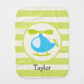 Cute Blue Toy Helicopter on Lime Green Stripes Baby Burp Cloth