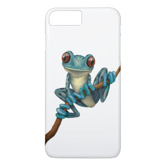 Cute Blue Tree Frog on a Branch White iPhone 7 Plus Case