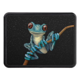Cute Blue Tree Frog on a Branch with Stars Hitch Cover