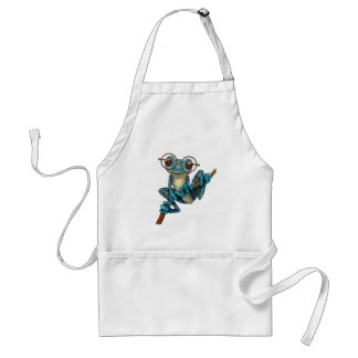 Cute Blue Tree Frog with Eye Glasses Adult Apron