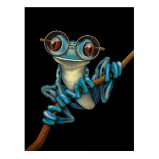 Cute Blue Tree Frog with Eye Glasses on Black Postcards