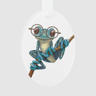 Cute Blue Tree Frog with Eye Glasses on White Ornament