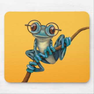 Cute Blue Tree Frog with Eye Glasses on Yellow Mouse Pad