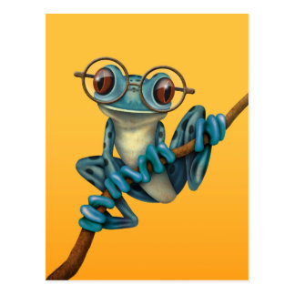 Cute Blue Tree Frog with Eye Glasses on Yellow Post Card