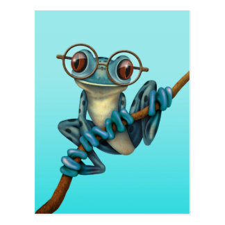 Cute Blue Tree Frog with Eye Glasses Postcards