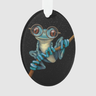 Cute Blue Tree Frog with Eye Glasses with Stars Ornament