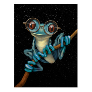 Cute Blue Tree Frog with Eye Glasses with Stars Postcards
