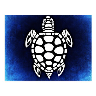 Cute Blue Tribal Sea Turtle Illustration Postcard