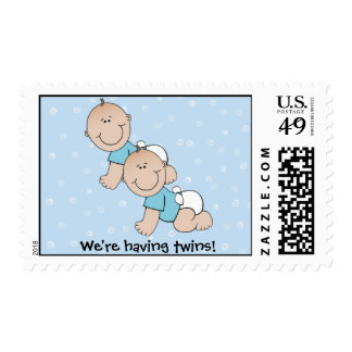 Cute Blue Twins Postage Stamps