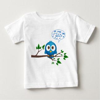 Cute blue twitter bird cartoon baby shirt