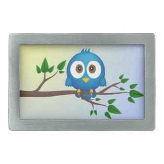 Cute blue twitter bird cartoon belt buckle