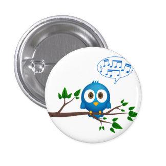 Cute blue twitter bird cartoon button