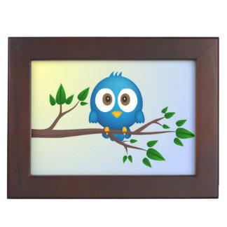 Cute blue twitter bird cartoon memory box