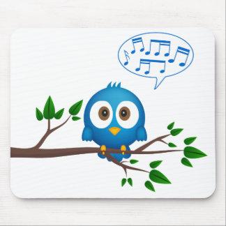Cute blue twitter bird cartoon mouse pad
