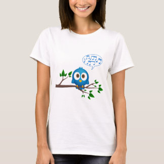 Cute blue twitter bird cartoon on woman's shirt