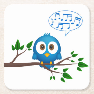 Cute blue twitter bird cartoon square paper coaster
