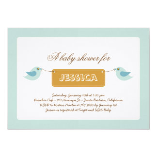 Cute Blue Twitters Baby Shower Invitation
