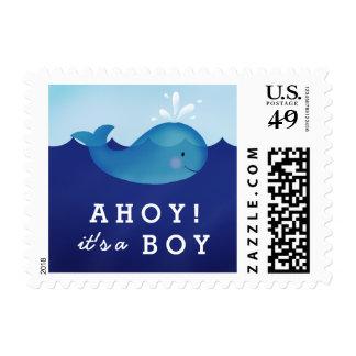 Cute Blue Whale Baby Boy Shower Custom Postage