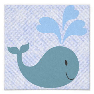 Cute Blue Whale Graphic Poster